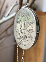 Vintage 925 Sterling Silver Locket With 925 TGGC Sterling Silver Chain