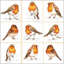 4 x Single Paper Napkins/3 Ply/Decoupage/Craft/Christmas/Assorted Robins