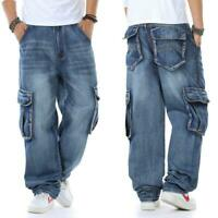 Plus SZ 30W-46W Men Jeans Relaxed Fit Cargo Pants Big Tall Loose Rugged Trousers