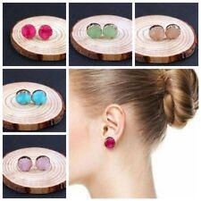 1Pair Fashion Natural Stone Quartz Ear Stud Durzy Crystal Earrings Jewelry