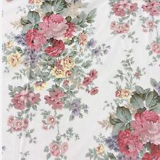 Cotton Blend Fabric Large Shabby Chic Rose Floral Pink Sage Craft Sewing