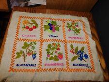 Fruit Sampler Crewel Embroidery Panel COMPLETED Handmade Vintage