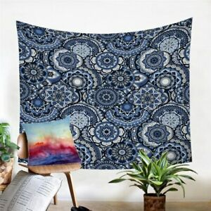 Mandala Blue Hippie Boho Wall Tapestry Hanging Throw Cover Home Room Decoration