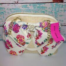 XOX Betsey Johnson Dome Satchel Handbag Pink Rose Floral Sand Bownanza Bow Bag