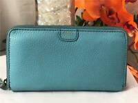 FOSSIL Light Blue Pebbled Leather Large Zip Around Wallet #SWL1086