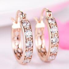 Charms Eternal Gold Filled White Topaz Hoop Leverback Earrings For Women