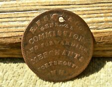 1837 PORTSMOUTH NH NEW HAMPSHIRE WISE COAL DEALER CROCKERY GLASSWARE EARLY TOKEN