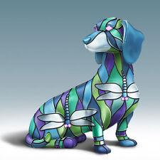 DRAGONFLY Louis Comfort TIFFANY-Style DASCHSHUND Dog Figurine NEW