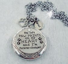 You Left Paw Prints on My Heart Pet Memorial Locket with Your Photo, Cat Dog