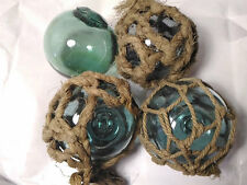 "Set of 4, Vintage Japanese Glass Fishing Float 3.6"" Aqua Ball Rope FB033"