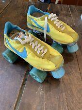 New listing Vtg Nike Brand Roller Skates Waffle Runner Dope Swoosh Orange Yellow Blue Derby