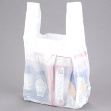 ROYAL Large Plastic Grocery Reusable T-shirts Carry-out Bag Plain White 500ct
