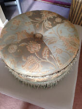 Vintage Sage Green Upholstered Circular Footstool