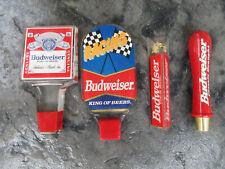 Vintage Budweiser Beer Tap Handle (Lot Of 4) Acrylic & Wood handles, Nice Lot 4!