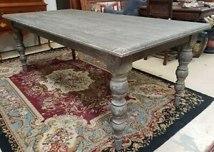 Thick Solid Dining Table Turned Legs Limed White Wash Grey Gray