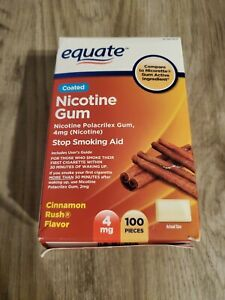 Equate Nicotine Gum Cinnamon Rush Flavor 4 mg 100 Pieces New Exp 02/2021