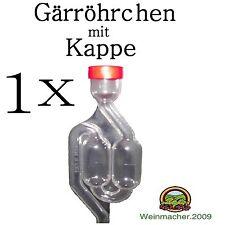 1 Gärröhrchen aus PVC mit Kappe Ø 9,5mm für Gummistopfen  Weinballon Gäraufsatz