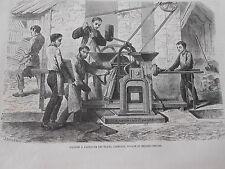Gravure 1864 - Machien à Fabriquer les Tuiles Carreaux Tuyaux et briques creuses