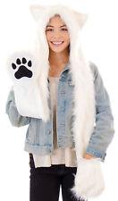 Cartoon Animal Hat Polar Bear Winter Warm Fluffy Hooded Cap Earmuff Hat