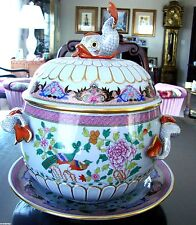 Herend Large Tureen with Underplate  In Rare  Pao de Peking Pattern-Stunning