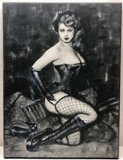 Colorplak Print On Wood Of Pin Up Girl Wild One Smoking Wearing Fishnet Stocking