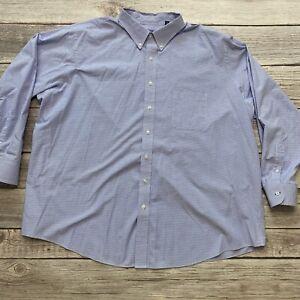 Izod Quick Dry Big Mens Size 20 34/35 Blue Plaid Button Down Long Sleeve Shirt