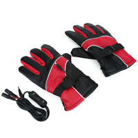 1 Pair Motorcycle 12V Heated Gloves Outdoor Winter Warm Gloves cotton, leather