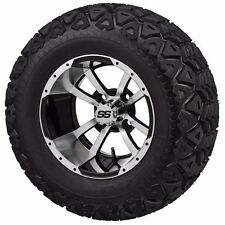 Set of 4 - 23x10.5-12 Tire on a 12x7 Black/Machined Type 7 Wheel w/FREE freight
