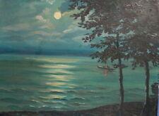 Antique impressionist oil painting night seascape landscape