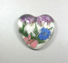 PLASTIC HEART WITH FLOWERS PAPERWEIGHT