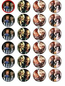 24 X HORROR CHUCKY AND BRIDE RICE PAPER BIRTHDAY CAKE TOPPERS