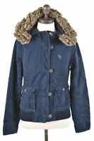 ABERCROMBIE & FITCH Girls Hooded Jacket 15-16 Years XL Navy Blue Cotton  JJ55