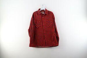 Vintage 80s Dickies Mens Medium Double Pocket Plaid Flannel Button Shirt Cotton