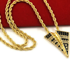 """Mens Gold Iced Out Paper Plane Pendant & 24"""" Rope Chain Hip Hop Necklace D470"""