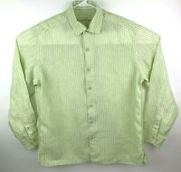 Tommy Bahama Mens M 100% Linen Cabana Button Front Long Sleeve Green Striped