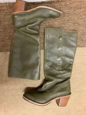 Wrangler Western Woman's Green Leather Boots Size Uk 5 Eu 38