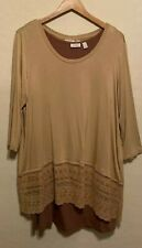 Logo By Lori Goldstein Layered Tunic Top Tank+3/4 Sleeve Twinset Eyelet Lace 2X