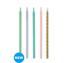 "Pack Of 12 Birthday Cake Candles Pastel 5"" High Brand New Celebration Party"