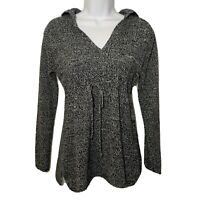 Women's Hooded Knit Tunic Sweater V-Neck Long Sleeve Black & White Top Small