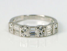 Womens 1 CT Baguette and Round Cut Diamond 14K White Gold Over Wedding Band Ring
