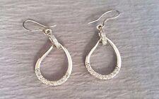 Sterling Silver & Natural Diamond Tear Drop Dangle Earrings 43mm X 16.75mm