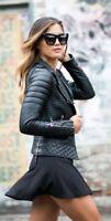 Mujer Genuino Cuero Piel Cordero Moto Ajustado Diseñador Chaqueta Estilo Motero