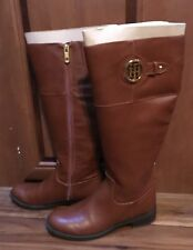 a9b1d8b64f48 Tommy Hilfiger WOMENS Brown Knee High Riding Boots 6.5M Wide Calf MSRP  129