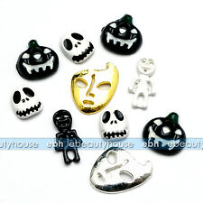 10 Pcs Black / White 3D Halloween Resin Nail Art Decoration Skull #HA-104