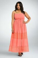 NWT Torrid Plus Size  Coral Gauze Crochet Embroidery Tube Dress Sz 0X 12 (PPP)