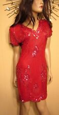Vtg 80s Red Beaded Sequin  Prom Queen Mini Bodycon Trophy Backless Dress M