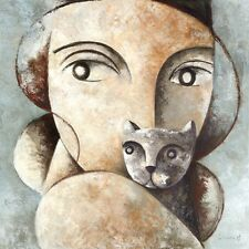 CAT AND WOMAN STRETCHED CANVAS GICLEE by DIDIER LOURENCO 27.5X27.5 ABSTRACT