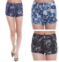 UK Girls Fashion Black Navy Blue Denim Shorts Party Hot Pants UK Size 6,8,10,12