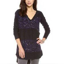 Free People Women S Sequin Leopard Stripe Colorblock Oversized Pullover Sweater