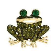 FROG WITH LARGE GREEN RHINESTONE EYES GOLD TONE BROOCH AND PENDANT